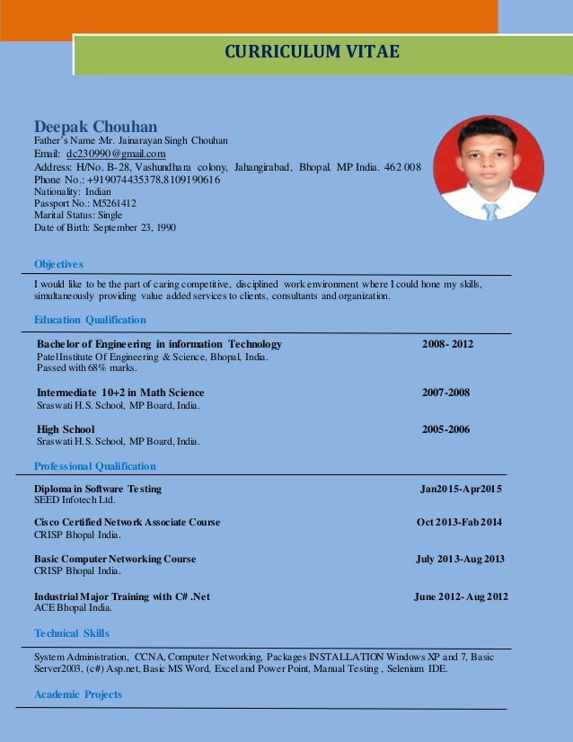deepak cv b e i t with 1 year experience in trainee network and de