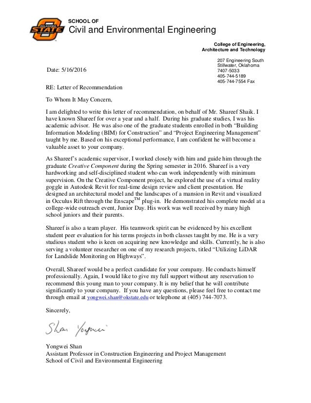 Shareef   Recommendation Letter. SCHOOL OF Civil And Environmental  Engineering College Of Engineering, Architecture And Technology 207  Engineering South