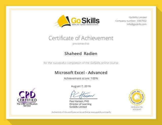 Goskills Certificate Shaheed Radien Microsoft Excel Advanced