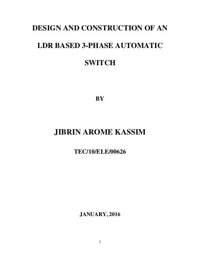 LDR BASED 3PHASE AUTOMATIC SWITCH