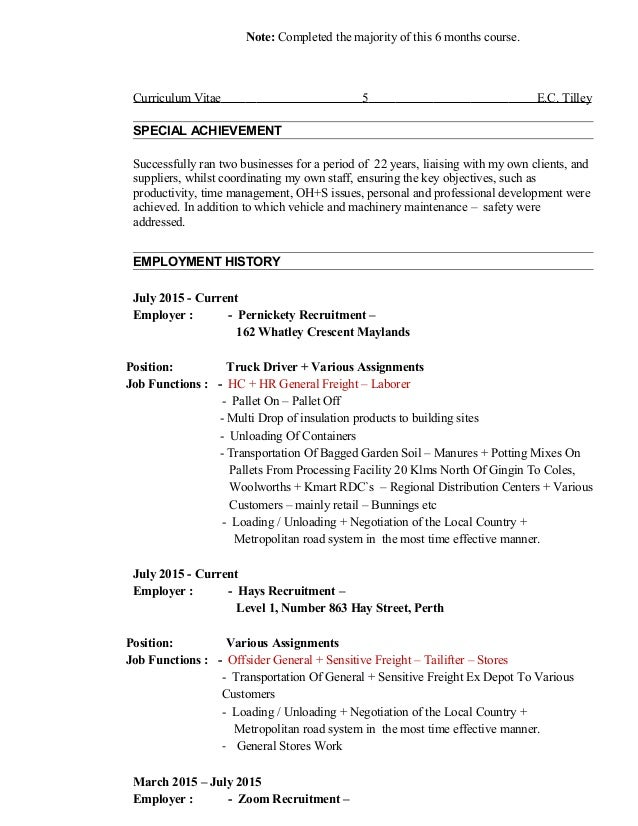 9 Tilley C New Resume Updated 21 February 2016 Use This