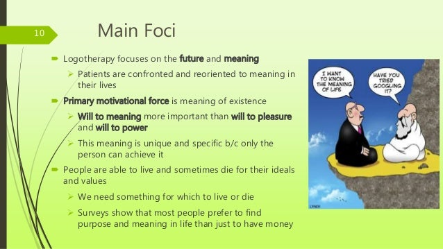 viktor frankl logotherapy and meaning of In his book man's search for meaning, viktor frankl reflected on his time  he  wanted to write a book on logotherapy, which described his.