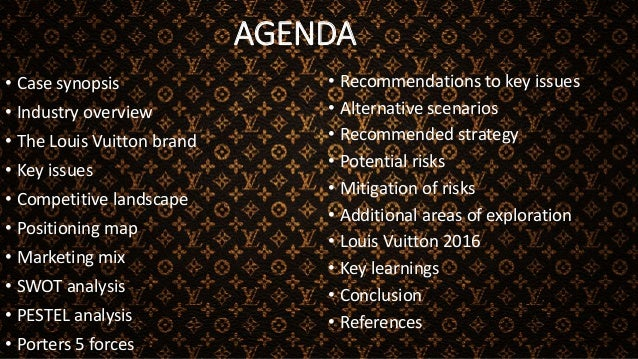 AGENDA • Case synopsis • Industry overview • The Louis Vuitton brand • Key issues • Competitive landscape • Positioning ma...