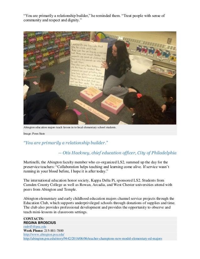 Teacher champions New model for elementary ed majors