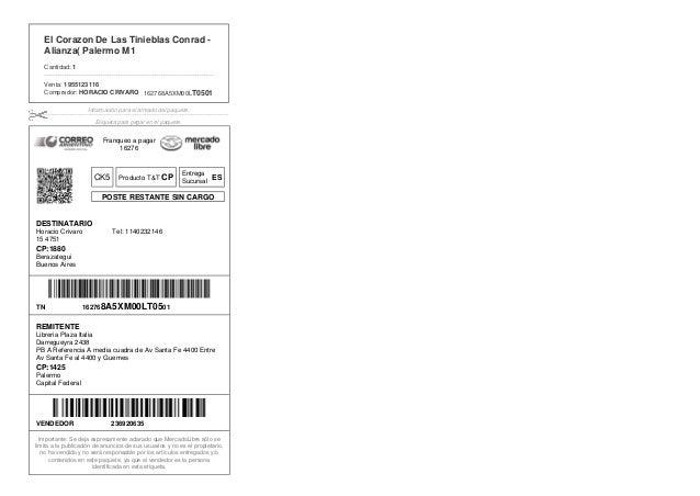 CK5 Producto T&T CP POSTE RESTANTE SIN CARGO 162768A5XM00LT0501 El Corazon De Las Tinieblas Conrad - Alianza( Palermo M1 C...