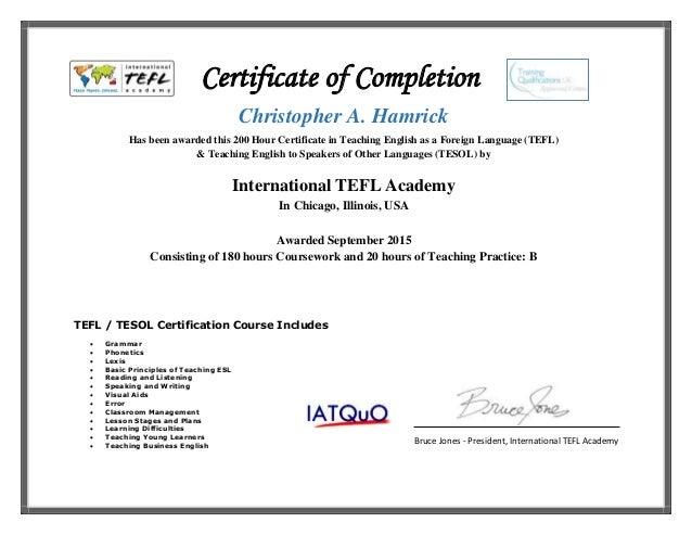 Hamrick christopher tefl certificate for Tefl certificate template