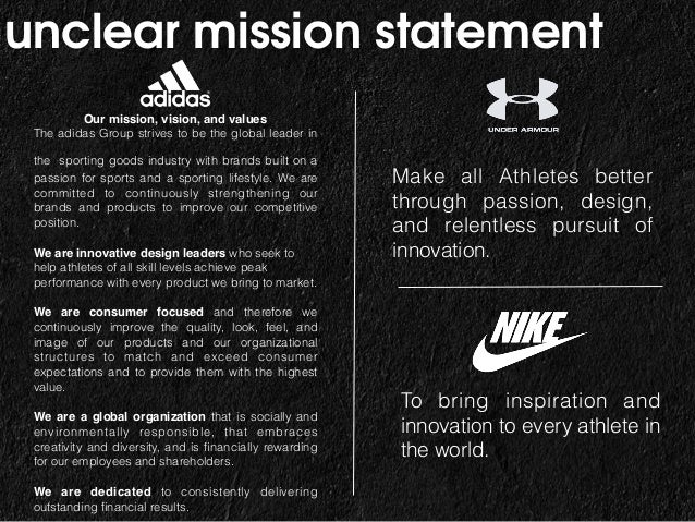 adidas mission statement analysis The nike mission statement is to bring inspiration and innovation to every athlete in the world.