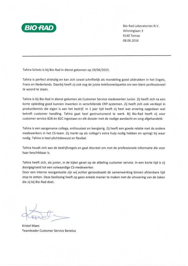 aanbevelingsbrief engels Aanbevelingsbrief Tahira Schots Bio Rad Laboratories NV SA