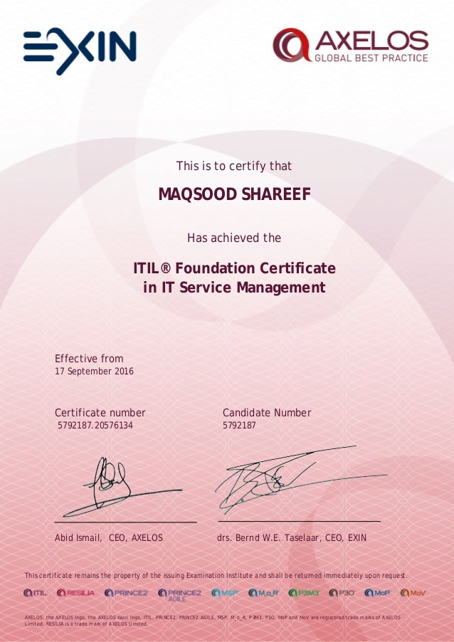 Certificate Itil V3 Foundations