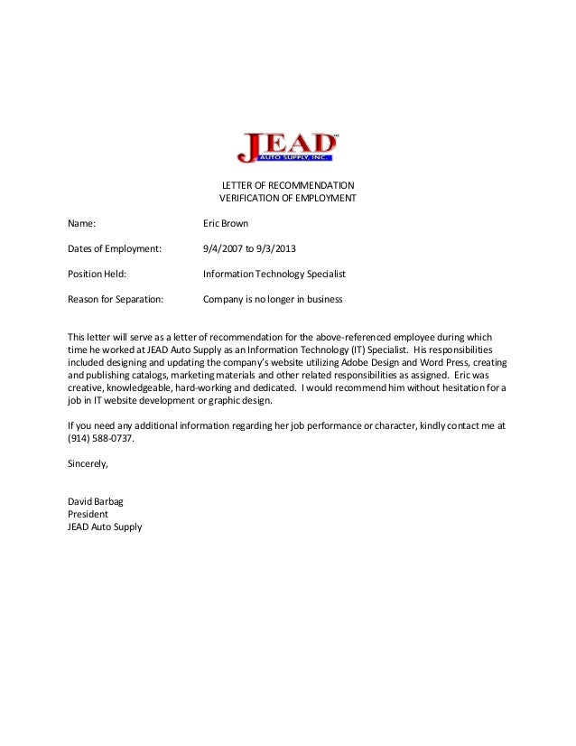 LETTER OF RECOMMENDATIONEricBrown