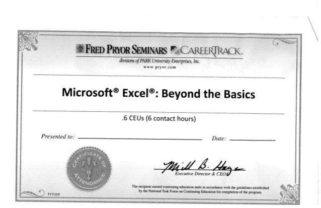 excel training certificate