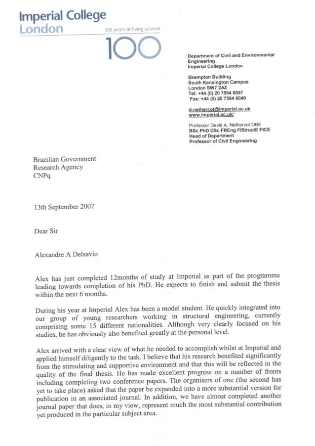 Imperial College Recommendation Letter   2007.09.13