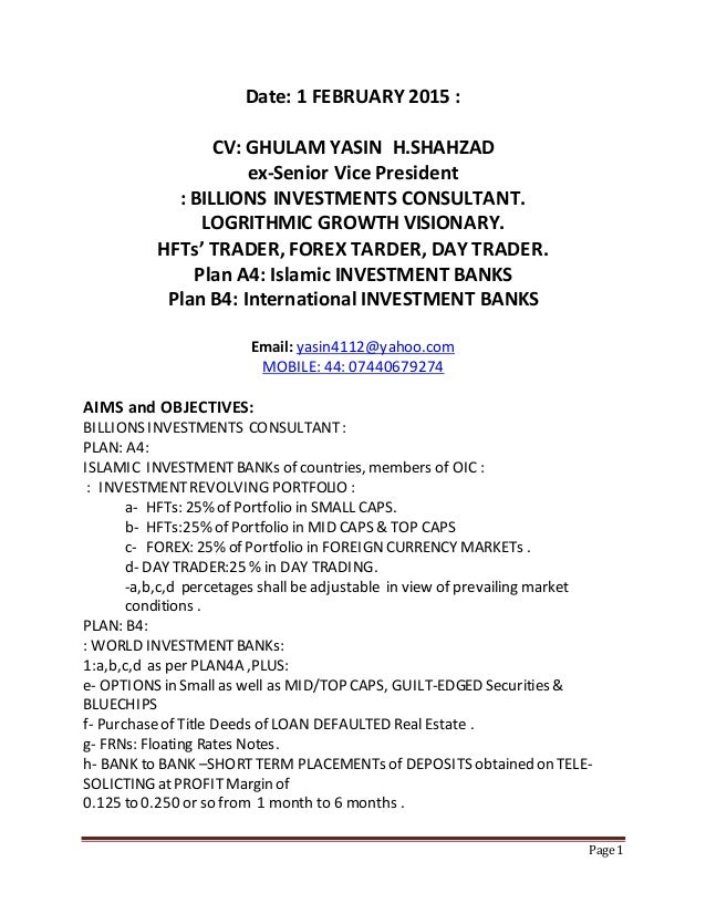 1 february 2015 cv ghulam yasin h shahzad ex svp r e broker hfts