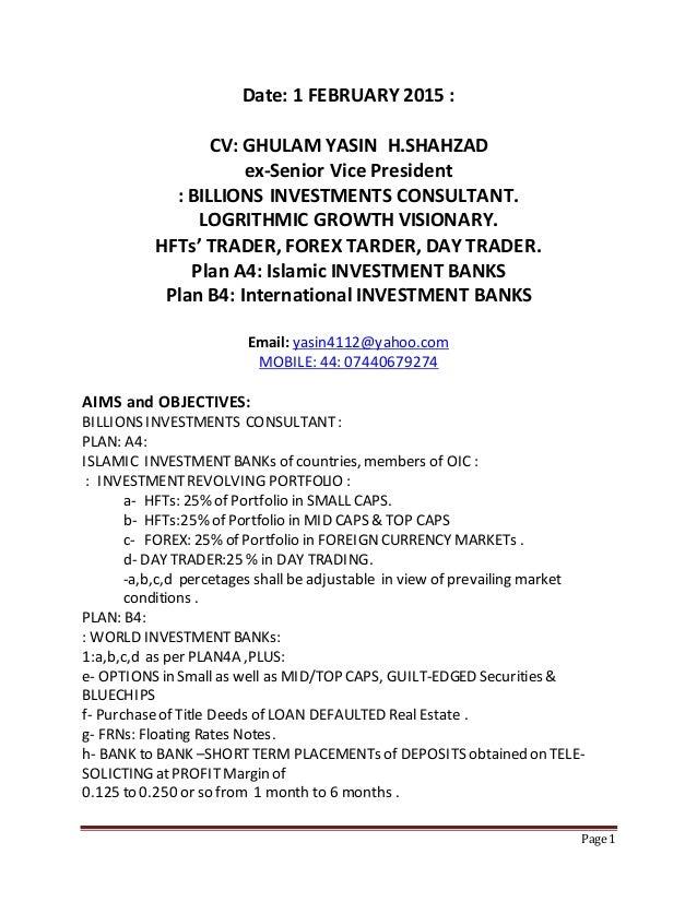 Exceptional 1 February 2015 Cv Ghulam Yasin H Shahzad Ex Svp R E Broker Hfts