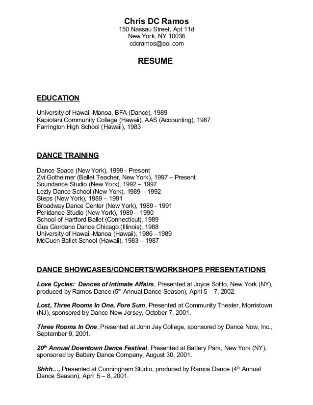 Perfect Chris Ramos Performing Arts Dance Resume.DOC. Chris DC Ramos 150 Nassau  Street, Apt 11d New York, NY 10038 Cdcramos@ ...  Performing Arts Resume