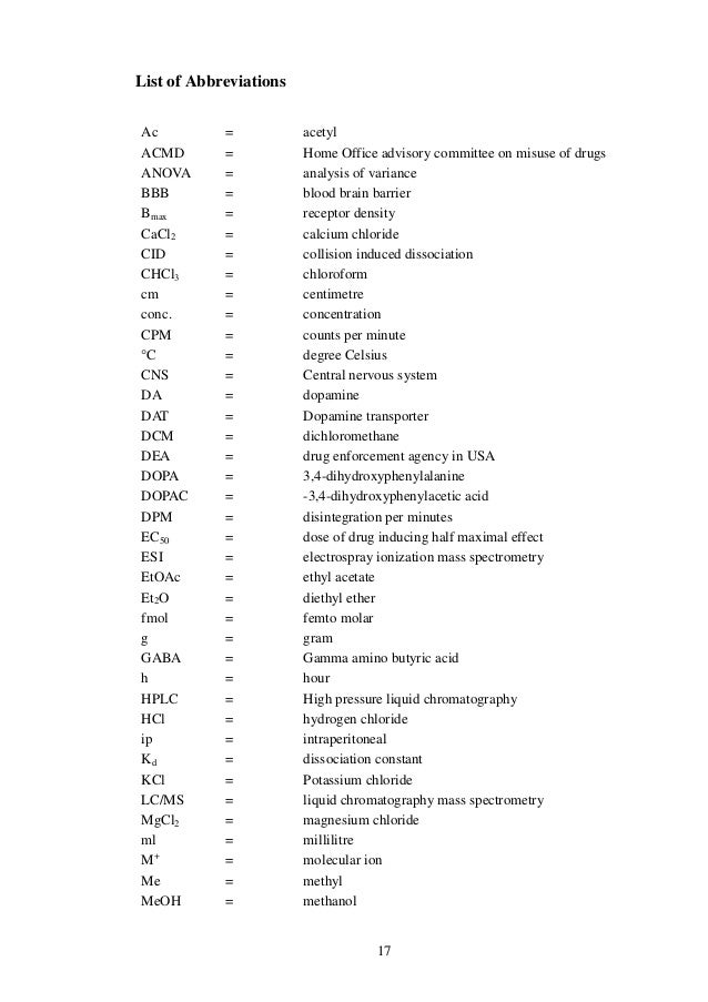 Dissertation abbreviations list