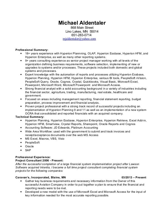 michael aldentaler  current resume