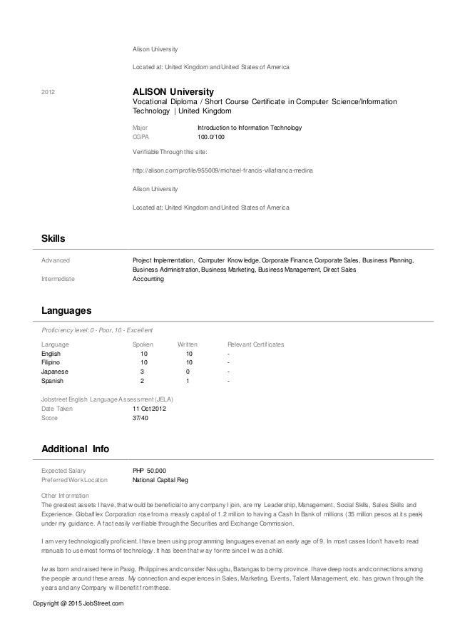michael-francis-medina-curriculum-vitae-or-resume-03092015-4-638 Vocational Curriculum Vitae on