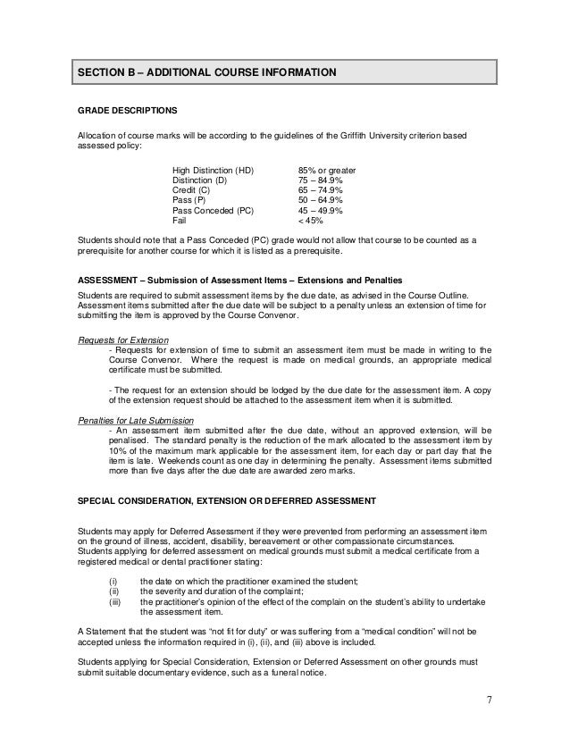 7 SECTION B – ADDITIONAL COURSE INFORMATION ASSESSMENT - Submission of Assessment Items - Extensions and Penalties GRADE D...
