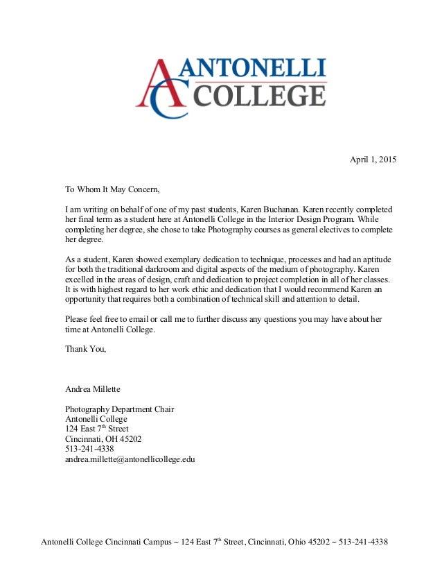 Recommendation letter andrea millette recommendation letter andrea millette antonelli college cincinnati campus 124 east 7th street cincinnati ohio 45202 513 expocarfo Choice Image