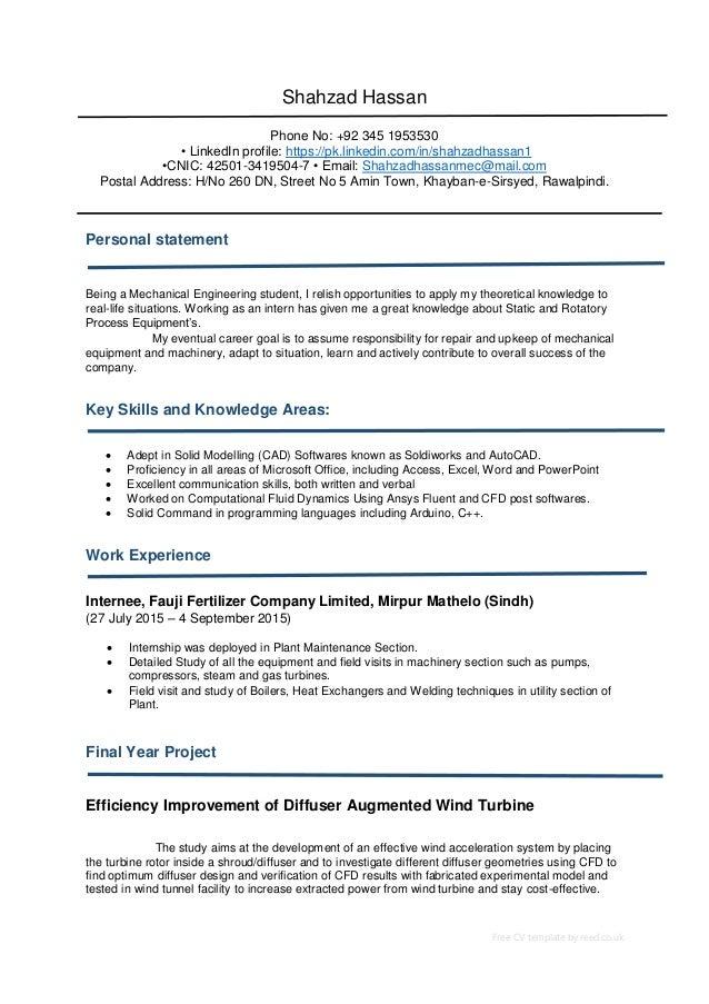 Free CV template by reed.co.uk Shahzad Hassan Phone No: +92 345 1953530 • LinkedIn profile: https://pk.linkedin.com/in/sha...