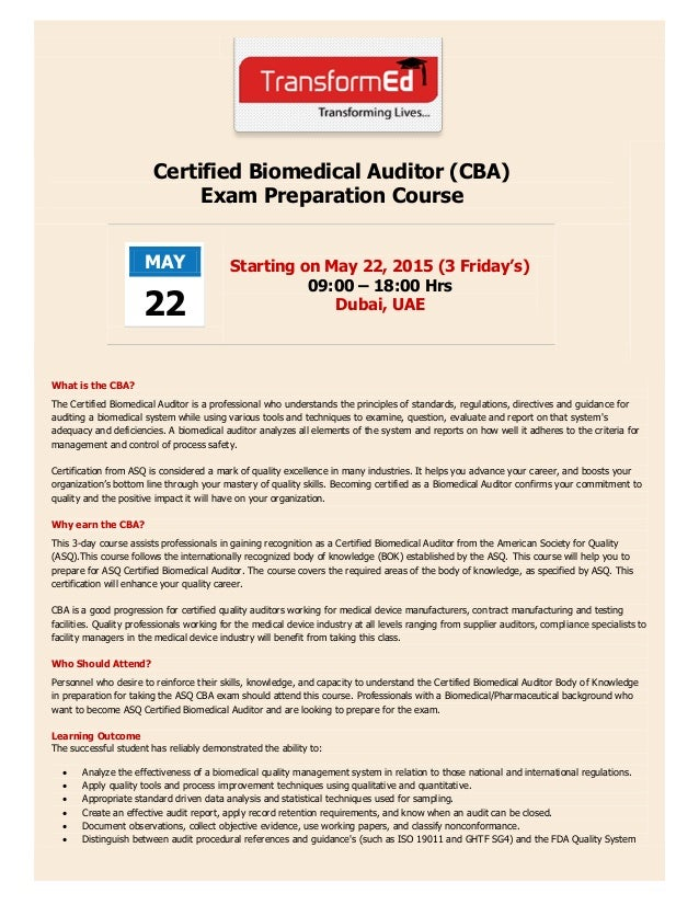 Certified Biomedical Auditor (CBA) Brochure