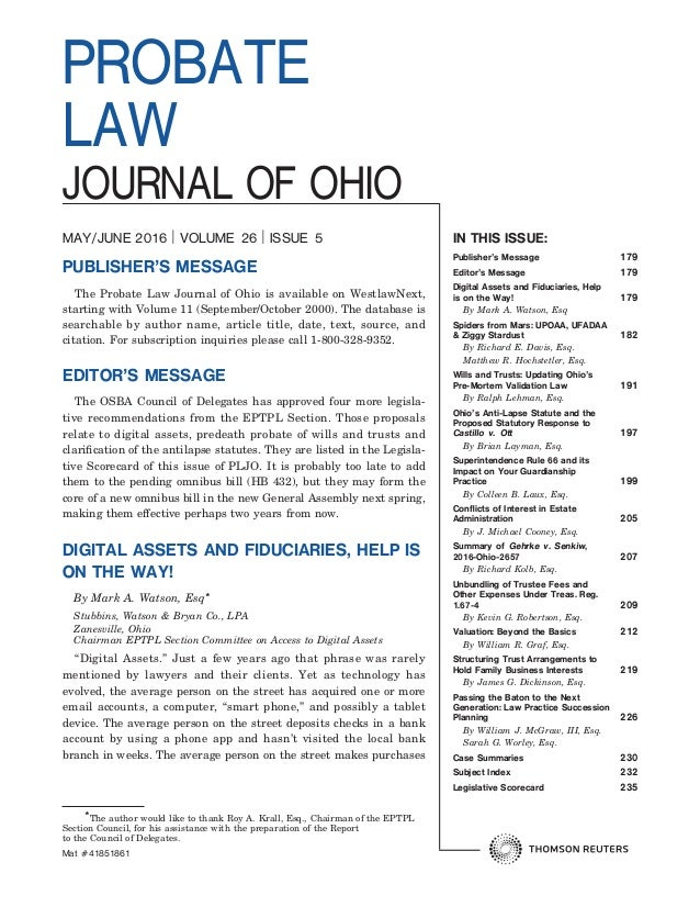 Ohio probate law journal article ohio probate law journal article in this issue publishers message 179 editors message 179 digital assets and fiduciaries solutioingenieria Image collections
