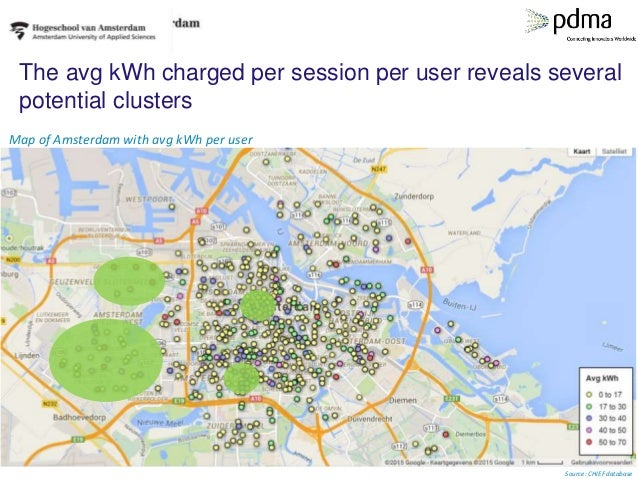 The avg kWh charged per session per user reveals several potential clusters Map of Amsterdam with avg kWh per user Source:...