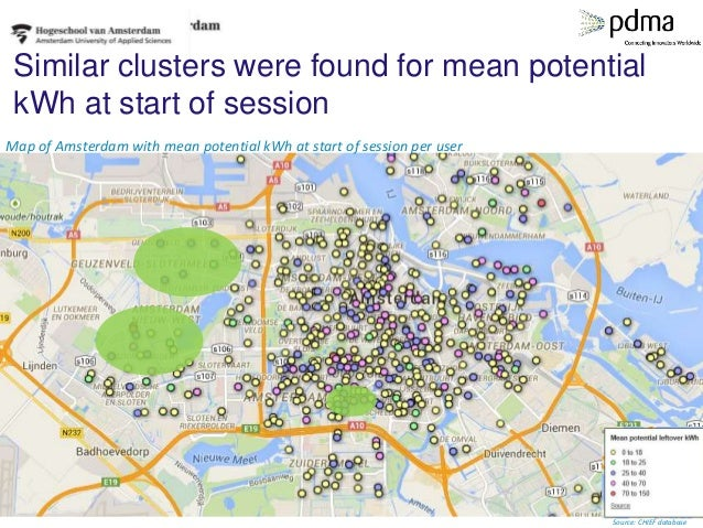 Similar clusters were found for mean potential kWh at start of session Map of Amsterdam with mean potential kWh at start o...