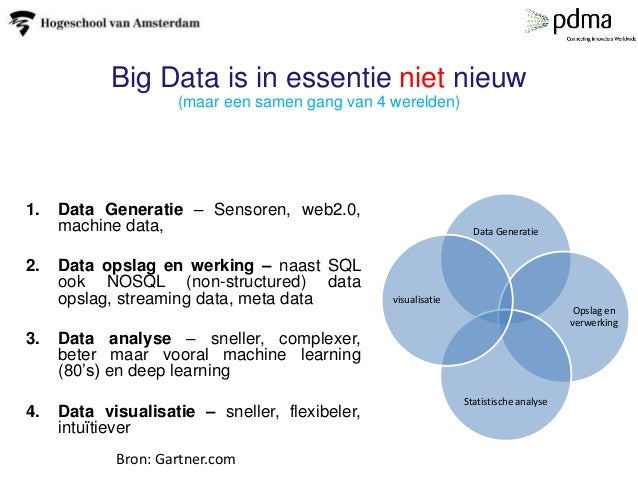 Big Data is in essentie niet nieuw (maar een samen gang van 4 werelden) 1. Data Generatie – Sensoren, web2.0, machine data...