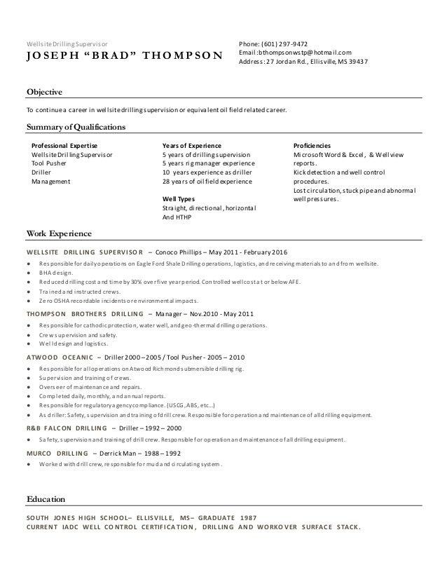 j b thompson drilling supervisor resume