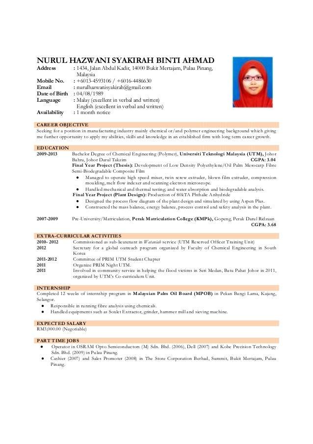 Resume Nurul Hazwani Syakirah Binti Ahmad
