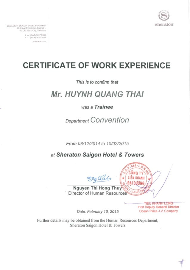 Experience Certificate Format Ticketing.  Work Experience Letter India Sheraton Certificate work experience letter india 28 images 5 sle