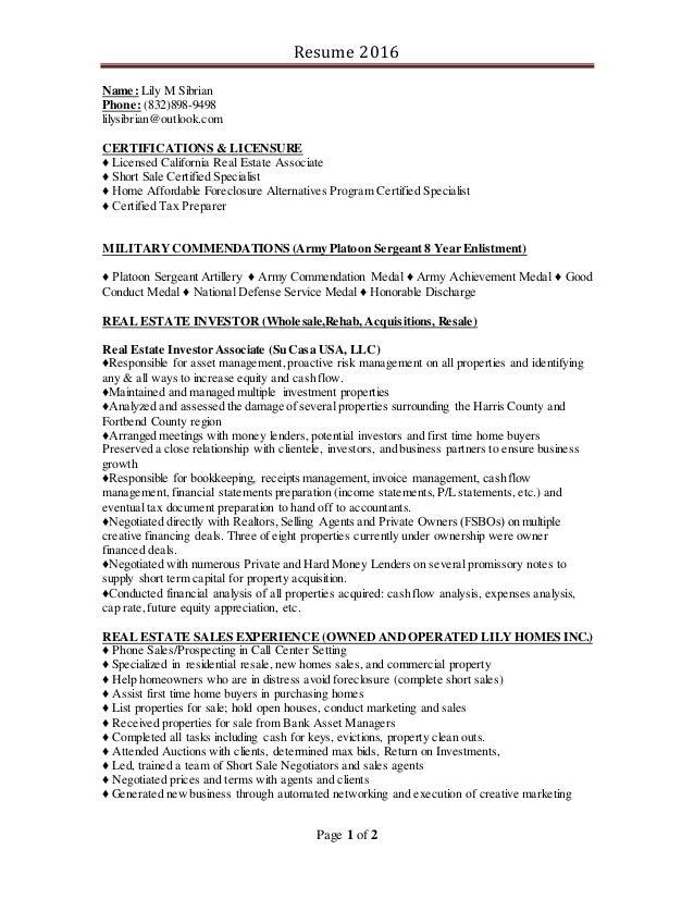 Investor Resume 2016