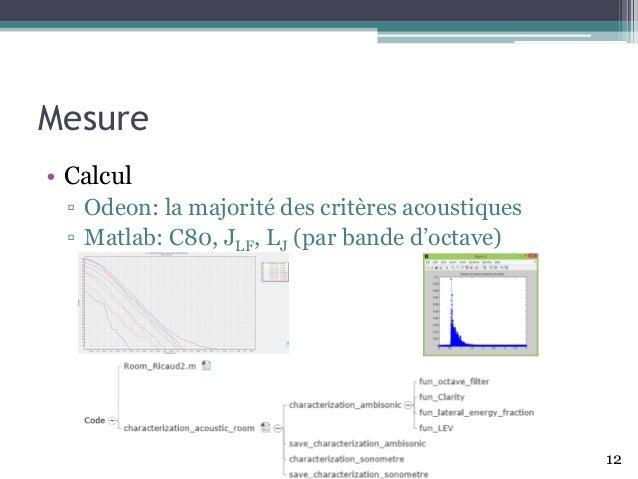 Mesure • Calcul ▫ Odeon: la majoritédes critères acoustiques ▫ Matlab: C80, JLF, LJ (par bande d'octave) 12