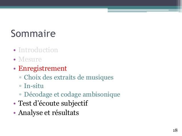 Sommaire • Introduction • Mesure • Enregistrement ▫ Choix des extraits de musiques ▫ In-situ ▫ Décodage et codage ambisoni...