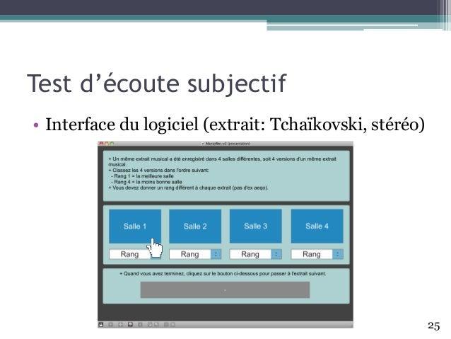 • Interface du logiciel (extrait: Tchaïkovski, stéréo) Test d'écoute subjectif 25