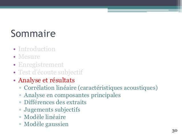 Sommaire • Introduction • Mesure • Enregistrement • Test d'écoute subjectif • Analyse et résultats ▫ Corrélation linéaire ...