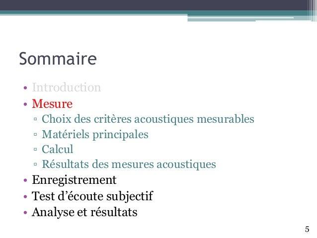 Sommaire • Introduction • Mesure ▫ Choix des critères acoustiques mesurables ▫ Matériels principales ▫ Calcul ▫ Résultats ...