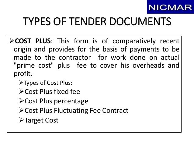 Tendering bidding award of contract final draft for Cost plus a fee contract form for homebuilding