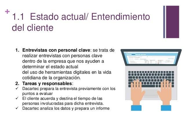 + 1.1 Estado actual/ Entendimiento del cliente 1. Entrevistas con personal clave: se trata de realizar entrevistas con per...
