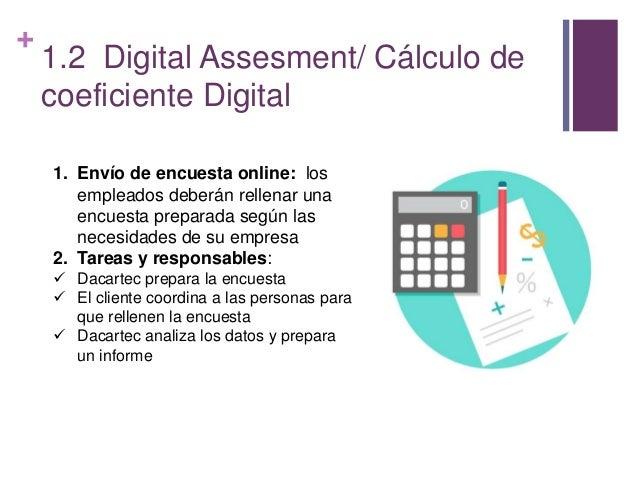 + 1.2 Digital Assesment/ Cálculo de coeficiente Digital 1. Envío de encuesta online: los empleados deberán rellenar una en...