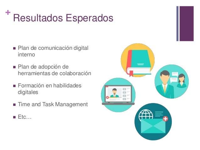 + Resultados Esperados  Plan de comunicación digital interno  Plan de adopción de herramientas de colaboración  Formaci...