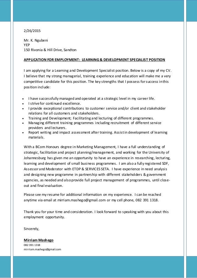 Covering Letter U0026 CV For Learning U0026 Development Specialist. 2/26/2015 Mr.  K. Ngubeni YEP 150 Rivonia U0026 Hill Drive ...