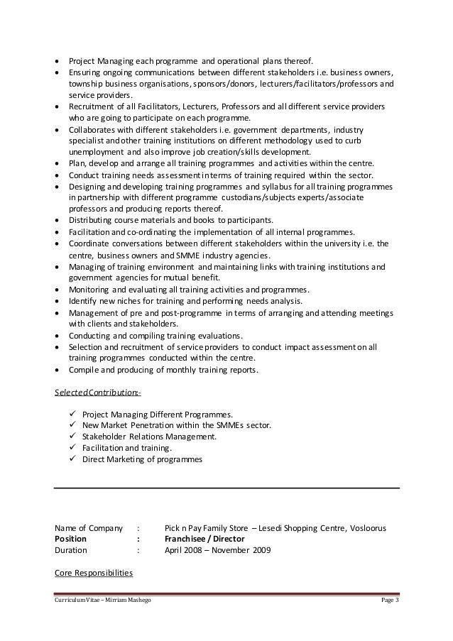 Covering Letter & CV for Learning & Development Specialist