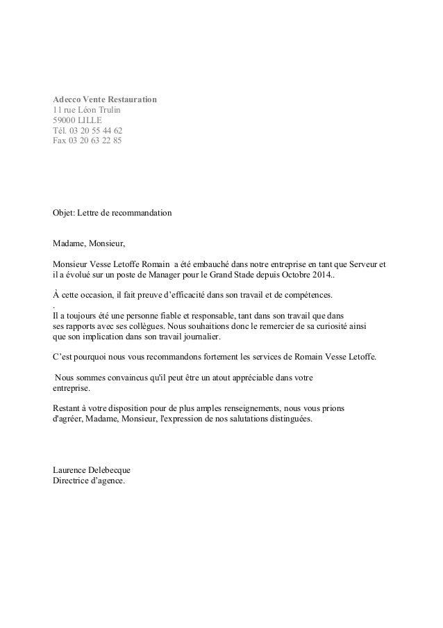 Lettre de recommandation Adecco Lille Evénementiel