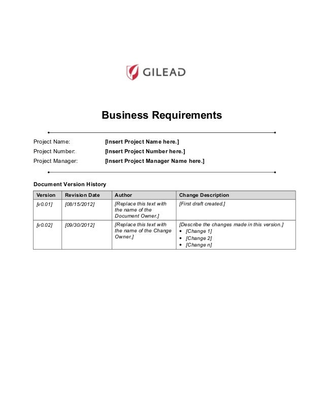 business requirements project name insert project name here - Business Process Requirements Template