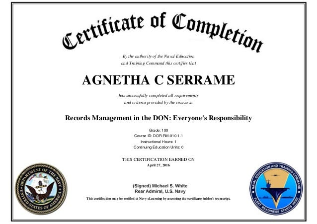 don records management certificate training slideshare upcoming