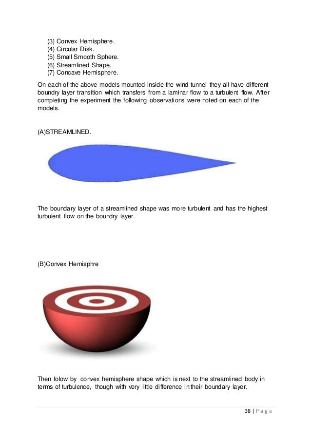 38 | P a g e (3) Convex Hemisphere. (4) Circular Disk. (5) Small Smooth Sphere. (6) Streamlined Shape. (7) Concave Hemisph...