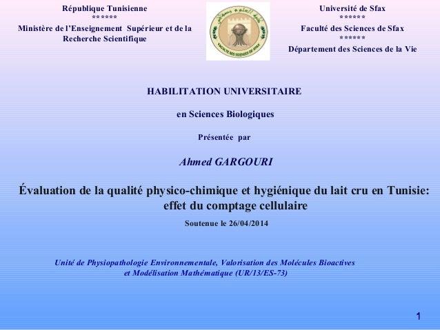 République Tunisienne ****** Ministère de l'Enseignement Supérieur et de la Recherche Scientifique HABILITATION UNIVERSITA...